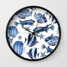 Fish Underwater Watercolor Pattern Wall Clock