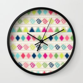 Vintage white faux leather colorful aztec tribal Wall Clock