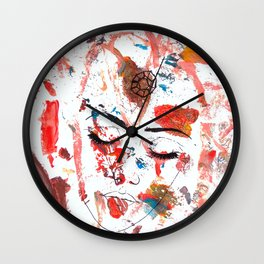 Alaya & Blu - Asymetric Chaos in Order (painted with my 3 year old daughter) Wall Clock