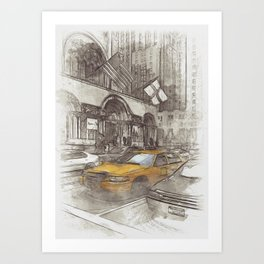 NYC Yellow Cabs Avenue - SKETCH Art Print