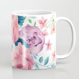 Vintage pink roses bouquet watercolors illustration Coffee Mug