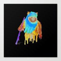 ewok Canvas Prints featuring Trippy Ewok by Lyn Sweet
