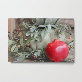 Pomegranates & Pumpkins ~ Still Life Photograph ~ Autumn Harvest Metal Print