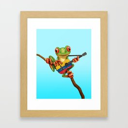 Tree Frog Playing Acoustic Guitar with Flag of Colombia Framed Art Print