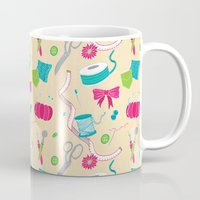sewing Mugs featuring Sewing Session by Valentina Cariel