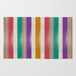 """Colorful Vertical Lines Burlap Texture"" Rug"