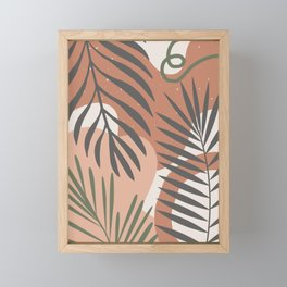 Neutral color tropical palm pattern Framed Mini Art Print