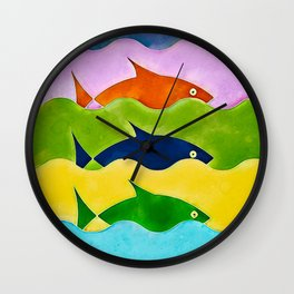 Colorful fishes Wall Clock