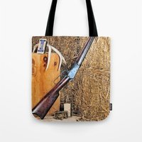 winchester Tote Bags featuring Winchester Rifle by Captive Images Photography