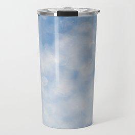 Blue white sparkles bokeh abstract Travel Mug
