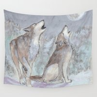 wolves Wall Tapestries featuring Wolves by Jen Hallbrown