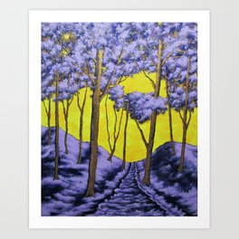 Twilight Woods by Mike Kraus - art purple yellow trees forest woods nature hikes hiking trails Art Print