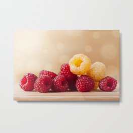 Fresh ripe red and golden raspberry fruits Metal Print
