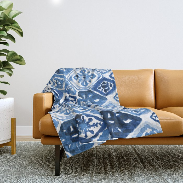 Arabesque tile art Throw Blanket