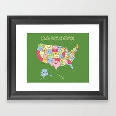 Kawaii States of America Framed Art Print