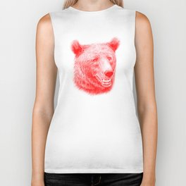 Brown bear is red and pink Biker Tank