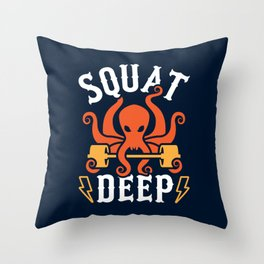 Squat Deep Kraken Throw Pillow