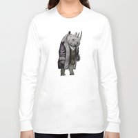 suits Long Sleeve T-shirts featuring Animals in Suits - Black Rhino by Katadd