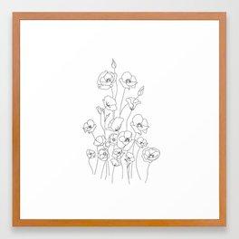 Poppy Flowers Line Art Framed Art Print
