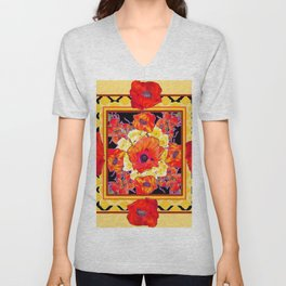 RED POPPIES DECORATIVE FLORAL ABSTRACT Unisex V-Neck