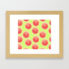 Pink Grapefruit Slices Pattern Framed Art Print