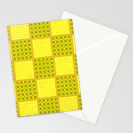 YELLOW CHECKS WITH POLKA DOTS Stationery Cards