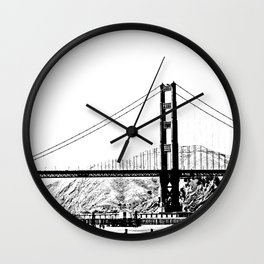 Golden Gate Bridge in Black and White:  A View from Crissy Field Wall Clock