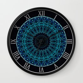 Mandala in light and dark blue tones Wall Clock