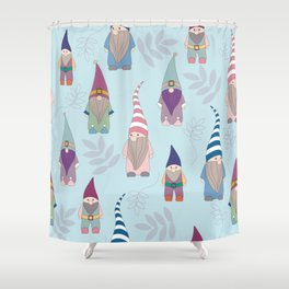 Gnomes blue Shower Curtain