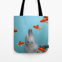 dolphin with goldfishes Tote Bag