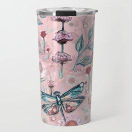 Rose Gold Dragonfly Garden | Pastel Travel Mug