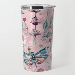 Rose Gold Dragonfly Garden | Pastel Travel Mug