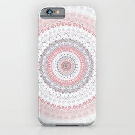 Boho Pink Silver Pastel Mandala iPhone Case