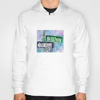 broadway Hoodies featuring Broadway Sign by Dorrie Rifkin Watercolors