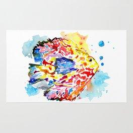 Rainbow Fish Watercolor Rug