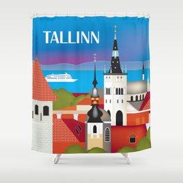 Tallinn, Estonia - Skyline Illustration by Loose Petals Shower Curtain