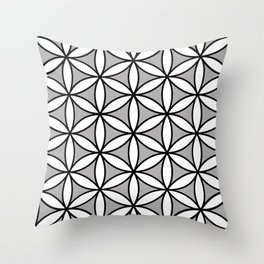 Flower of Life Pattern BW on Gray Throw Pillow