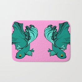 Double bettas in pink and green Bath Mat