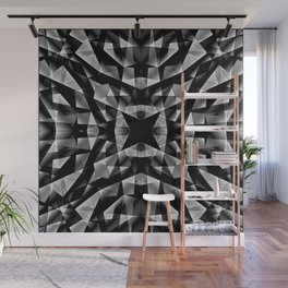 Kaleidoscopic of chaotic black and white glass fragments, irregular cubic figures and ice floes. Wall Mural