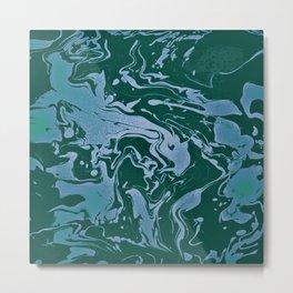 Flooded Grasslands - green blue swirl abstract pattern Metal Print