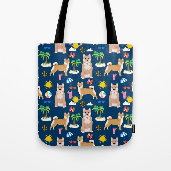 Shiba Inu Summer Beach Vacation Dog Gifts Pure Breed Pet Portrait Pattern Tote Bag