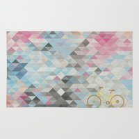 bicycles Area & Throw Rugs featuring bicycles & triangles by sugi by saki