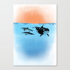 Orca and Dolphin Canvas Print