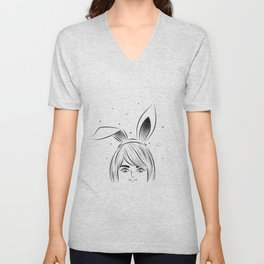 Woman with rabbit ears Unisex V-Neck