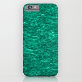 Horizontal metal texture of bright highlights on turquoise waves. iPhone Case