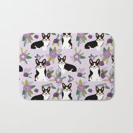 Tricolored Corgi Floral print - feminine blue purpl florals dogs, dog lover, dog mom, tri corgi cute Bath Mat