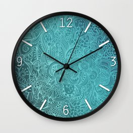 Detailed zentangle square, blue colorway Wall Clock