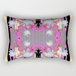 Yellow Art White Spider Mums Pink Flowers Garden Art Rectangular Pillow