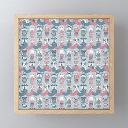 Knitting dog feelings I Framed Mini Art Print