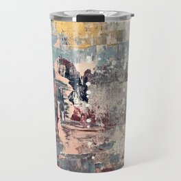 Mirage [1]: a vibrant abstract piece in pinks blues and gold by Alyssa Hamilton Art Travel Mug